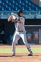 Scottsdale Scorpions pinch hitter Heath Quinn (45), of the San Francisco Giants organization, at bat during an Arizona Fall League game against the Peoria Javelinas at Peoria Sports Complex on October 18, 2018 in Peoria, Arizona. Scottsdale defeated Peoria 8-0. (Zachary Lucy/Four Seam Images)