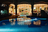 Hotel pool and dining area at night, Sharm el-Sheikh along the Red Sea, Egypt