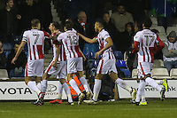 Will Boyle of Cheltenham Town (2nd left) celebrates after he scores the opening goal of the game during the Sky Bet League 2 match between Luton Town and Cheltenham Town at Kenilworth Road, Luton, England on 31 January 2017. Photo by David Horn / PRiME Media Images