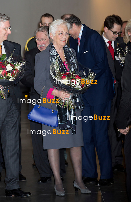 Le roi Philippe de Belgique, la reine Mathilde de Belgique, le roi Albert II de Belgique, la reine Paola de Belgique, La Princesse Astrid de Belgique et le Prince Lorenz de Belgique assistent au 150e anniversaire de la Croix Rouge, au Square,  &agrave; Bruxelles.<br /> Belgique, Bruxelles, 5/02/2014.<br /> King Philippe of Belgium, Queen Mathilde of Belgium, King Albert II of Belgium, Queen Paola of Belgium, Princess Astrid of Belgium and Prince Lorenz of Belgium attend an academic session for the 150th Anniversary of the Belgian Red Cross, at the Square in Brussels.<br /> Belgium, Brussels, February 5, 2014.<br /> PIC :  Queen Paola of Belgium