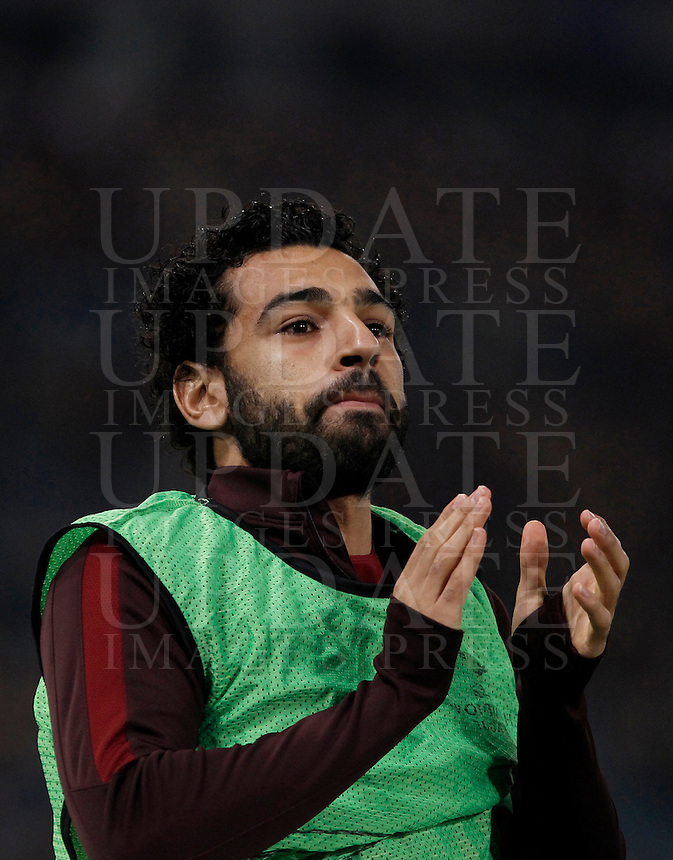 Calcio, Champions League: Gruppo E - Roma vs Bate Borisov. Roma, stadio Olimpico, 9 dicembre 2015.<br /> Roma's Mohamed Salah warms up during the Champions League Group E football match between Roma and Bate Borisov at Rome's Olympic stadium, 9 December 2015.<br /> UPDATE IMAGES PRESS/Isabella Bonotto