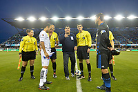 San Jose, CA - Saturday March 24, 2018: Referees, Landon Donovan, Chris Wondolowski, coin toss during an international friendly between the San Jose Earthquakes and Club Leon FC at Avaya Stadium.