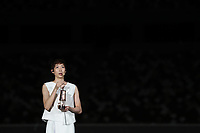 23rd July 2020, Tokyo, Japan;  Japanese swimming athlete Ikee Rikako gives her message during a ceremonial event to mark a year-to-go until the start of the postponed Tokyo 2020 Olympic, at the Olympic Stadium in Tokyo, Japan, July 23, 2020. Tokyo 2020 organizers held a ceremonial event behind closed doors here on Thursday.