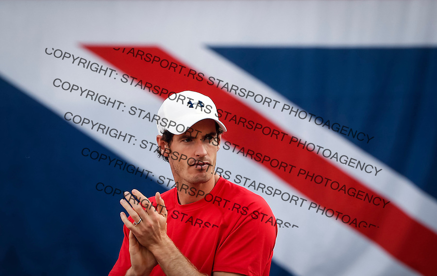 BELGRADE, SERBIA - JULY 16: Andy Murray cheers Dominic Inglot and Jamie Murray of Great Britain during their match against Nenad Zimonjic and Filip Krajinovic during day two of the Davis Cup Quarter Final match between Serbia and Great Britain on Stadium Tasmajdan on July 16, 2016 in Belgrade, Serbia. (Photo by Srdjan Stevanovic/Getty Images)