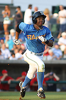Myrtle Beach Pelicans outfielder L.V. Ware running to first base during a game vs. the Potomac Nationals at BB&T Coastal Field in Myrtle Beach, SC, on June 16, 2010. The Nationals defeated the Pelicans 13-4. Photo By Robert Gurganus/Four Seam Images
