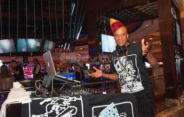 LAS VEGAS, NV - April 9, 2016: ***HOUSE COVERAGE*** Angelo Moore of Fishbone DJ set at The Center Bar at Hard Rock Hotel & Casino in Las vegas, NV on April 9, 2016. Credit: GDP Photos/ MediaPunch