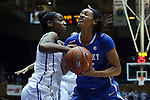 21 December 2014: Duke's Amber Henson (left) strips the ball from Kentucky's Alexis Jennings (right). The Duke University Blue Devils hosted the University of Kentucky Wildcats at Cameron Indoor Stadium in Durham, North Carolina in a 2014-15 NCAA Division I Women's Basketball game. Duke won the game 89-68.