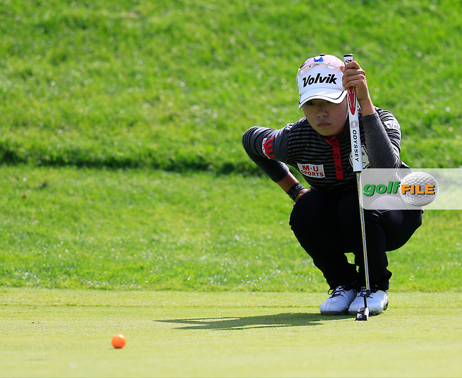 Mi Hyang Lee (KOR) at the 12th green during Sunday's Final Round of the LPGA 2015 Evian Championship, held at the Evian Resort Golf Club, Evian les Bains, France. 13th September 2015.<br /> Picture Eoin Clarke | Golffile