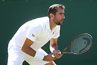 Marin Cilic (CRO) during his first round match with Yoshihito Nishioka (JPN)<br /> <br /> Photographer Rob Newell/CameraSport<br /> <br /> Wimbledon Lawn Tennis Championships - Day 1 - Monday 2nd July 2018 -  All England Lawn Tennis and Croquet Club - Wimbledon - London - England<br /> <br /> World Copyright &not;&copy; 2017 CameraSport. All rights reserved. 43 Linden Ave. Countesthorpe. Leicester. England. LE8 5PG - Tel: +44 (0) 116 277 4147 - admin@camerasport.com - www.camerasport.com