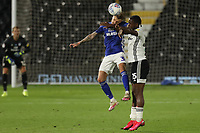 30th July 2020; Craven Cottage, London, England; English Championship Football Playoff Semi Final Second Leg, Fulham versus Cardiff City; Joshua Onomah of Fulham competes for the ball with Joe Bennett of Cardiff City