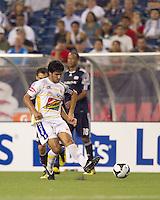 Monarcas Morelia forward Rafael Marquez Lugo (7) passes the ball. The New England Revolution defeated Monarcas Morelia in SuperLiga 2010 group stage match, 1-0, at Gillette Stadium on July 20, 2010.