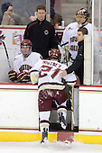 Jimmy Hayes (BC - 10), Bert Lenz (BC - Trainer), Steven Whitney (BC - 21), Mike Feeley (BC - Student Manager), Chris Venti (BC - 30) - The Boston College Eagles defeated the University of Massachusetts-Amherst Minutemen 2-1 (OT) on Friday, February 26, 2010, at Conte Forum in Chestnut Hill, Massachusetts.