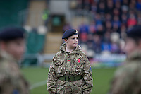Military students form a tunnel for the players ahead of the Sky Bet League 2 match between Newport County and Carlisle United at Rodney Parade, Newport, Wales on 12 November 2016. Photo by Mark  Hawkins.