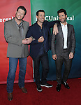Blake Shelton, Carson Daly and Adam Levine at the NBC Universal Winter Press Tour 2013, held at the Langham Huntington Hotel and Spa, Pasadena CA. January 6, 2013.