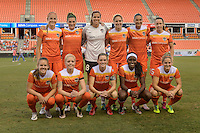 Houston, TX - Sunday June 19, 2016: Houston Dash Starting XI prior to a regular season National Women's Soccer League (NWSL) match between the Houston Dash and FC Kansas City at BBVA Compass Stadium.