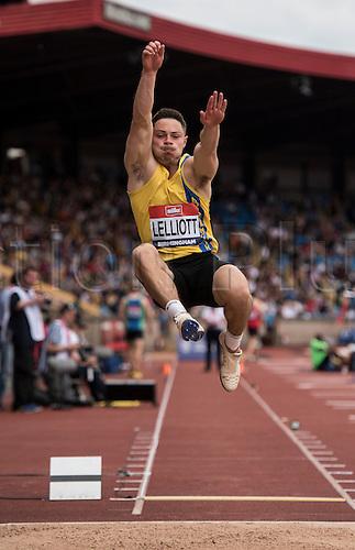 26.06.2016. Alexander Stadium, Birmingham, England. The British Athletics Championships 2016.<br /> James Lelliott Competes in the Mens Long Jump Final at the British Athletics Championships in Birmingham.