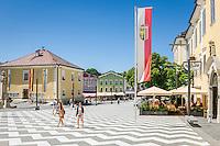 Austria, Upper Austria, Salzkammergut, Mondsee: restaurant Kirchenwirt at Marshall-Wrede-Square | Oesterreich, Oberoesterreich, Salzkammergut, Mondsee: Restaurant Kirchenwirt auf dem Marschall-Wrede-Platz