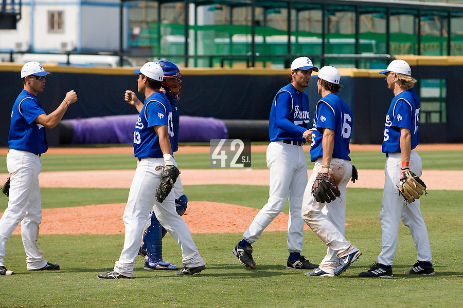 23 August 2007: From left to right #2 Sebastien Herve, #13 Boris Marche, #26 Jamel Boutagra, #10 Samuel Meurant, #16 Florian Peyrichou and #15 Luc Piquet celebrate after the France 8-4 victory over Czech Republic in the Good Luck Beijing International baseball tournament (olympic test event) at the Wukesong Baseball Field in Beijing, China.