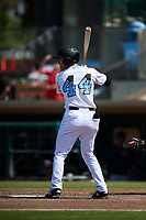 Inland Empire 66ers right fielder Brandon Sandoval (44) at bat during a California League game against the Lancaster JetHawks at San Manuel Stadium on May 20, 2018 in San Bernardino, California. Inland Empire defeated Lancaster 12-2. (Zachary Lucy/Four Seam Images)