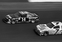 A.J. Foyt (14) 3 6th place Alan Kulwicki (7) Ford damaged 13th place Atlanta Journal 500 at Atlanta International Raceway in Hampton , GA on November 19, 1989.  (Photo by Brian Cleary/www.bcpix.com)