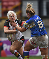 Picture by Anna Gowthorpe/SWpix.com - 15/04/2018 - Rugby League - Womens Super League - Bradford Bulls v Leeds Rhinos - Coral Windows Stadium, Bradford, England - Bradford Bulls' Shona Hoyle is tackled by Leeds Rhinos' Danielle Anderson
