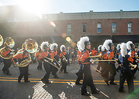 NWA Democrat-Gazette/BEN GOFF @NWABENGOFF<br /> The Rogers Heritage High marching band takes part in the school's homecoming parade Friday, Oct. 5, 2018, through downtown Rogers. This year's parade had a 'Candyland' theme.