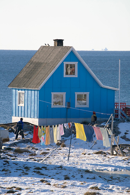 An Inuit home in the village of Iliminaq on the south side of the Ilulissat Icefiord. West Greenland