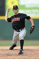 Indianapolis Indians relief pitcher Jonah Bayliss winds up to deliver the ball to the plate versus the Charlotte Knights at Knights Stadium in Fort Mill, SC, Sunday, August 13, 2006.  Bayliss pitched 2 scoreless innings to pick up his 19th save in the Indians 9-6 win over the Knights.