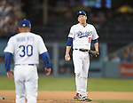 (R-L) Kenta Maeda, Dave Roberts (Dodgers),<br /> OCTOBER 20, 2016 - MLB :<br /> Kenta Maeda of the Los Angeles Dodgers looks dejected in the fourth inning during the game five of the National League Championship Series against the Chicago Cubs on October 20, 2016, at Dodger Stadium in Los Angeles, CA. (Photo by AFLO)