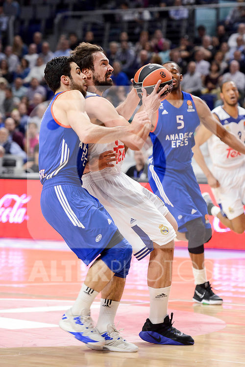 Real Madrid's Sergio Llull during Turkish Airlines Euroleague match between Real Madrid and Anadolu Efes at Wizink Center in Madrid, April 07, 2017. Spain.<br /> (ALTERPHOTOS/BorjaB.Hojas)