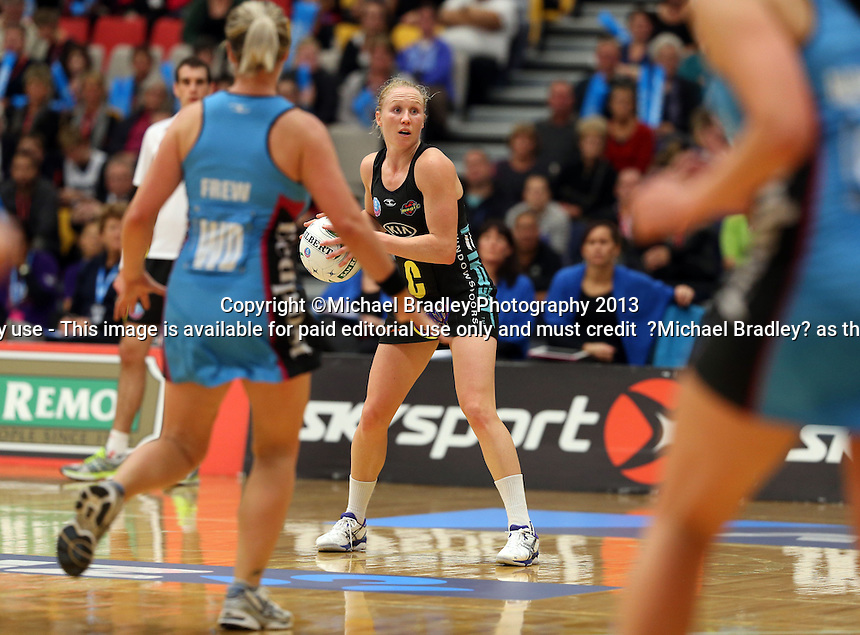 02.06.2013 Magic's Laura Langman in action during the ANZ Champs netball match between the Magic and Steel played at Rotorua Events Centre in Rotorua. Mandatory Photo Credit ©Michael Bradley.