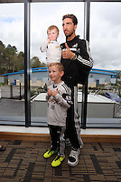 Pictured: Chico Flores with Swansea City competition winners at the club's Youth Training facility in Landore, Swansea. Friday 04 April 2014