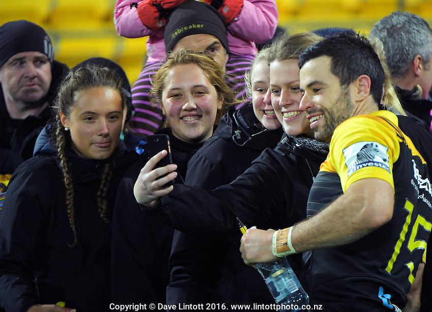 Fans take selfies with James Marshall after the Super Rugby semifinal match between the Hurricanes and Chiefs at Westpac Stadium, Wellington, New Zealand on Saturday, 30 July 2016. Photo: Dave Lintott / lintottphoto.co.nz