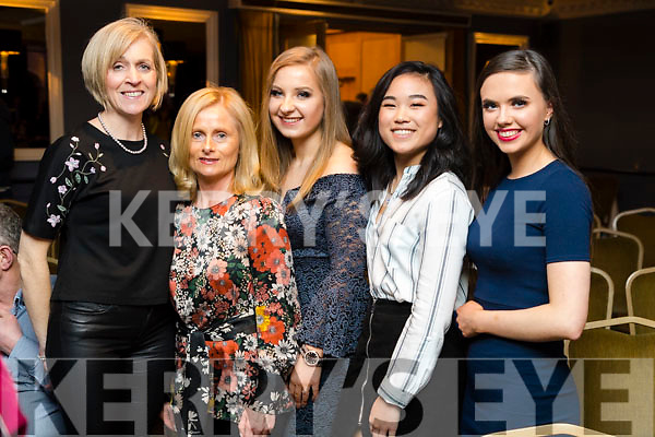 Enjoying Ballymac Strictly Come Dancing, at Ballygarry House Hotel & Spa, Tralee, on Saturday night last, were l-r: Eleanor Stack (Abbeydorney), Theresa O'Sullivan (Listellick) with Laura Harty, Sarah Ferguson and Aideen Fox (Tralee).