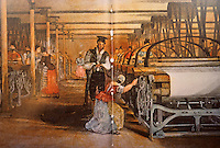 Technology:  Power-loom weaving room, Mid-century.  STORY OF INVENTIONS, J. Hornsby.  Reference only.
