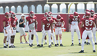 NWA Democrat-Gazette/J.T. WAMPLER University of Arkansas receivers during practice Saturday July 29, 2017 in Fayetteville.