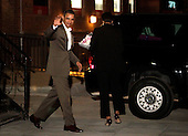 United States President Barack Obama waves to people on the street after having dinner at Komi restaurant with the first lady in the Dupont Circle neighborhood Friday, May 7, 2010 in Washington, DC. The first couple were sent off by a cheering crowd of more than 200 people who had gathered to catch a glimpse of the Obamas.  .Credit: Chip Somodevilla - Pool via CNP