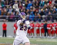 Jack Burgmaster (#23) delivers a pass as UAlbany Men's Lacrosse defeats Richmond 18-9 on May 12 at Casey Stadium in the NCAA tournament first round.