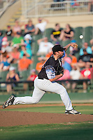 Kannapolis Intimidators starting pitcher Johnathan Frebis (26) delivers a pitch to the plate against the Delmarva Shorebirds at Kannapolis Intimidators Stadium on June 25, 2016 in Kannapolis, North Carolina.  The Intimidators defeated the Shorebirds 2-1.  (Brian Westerholt/Four Seam Images)