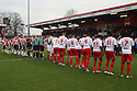 The teams line up. Stevenage v Doncaster Rovers - npower League 1 -  Lamex Stadium, Stevenage - 12th January, 2013. © Kevin Coleman 2013.