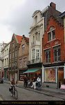 Street Scene: 17th-18th century Shops and Buildings, Gelmuntstraat near Eiermarkt Egg Market, Bruges, Brugge, Belgium