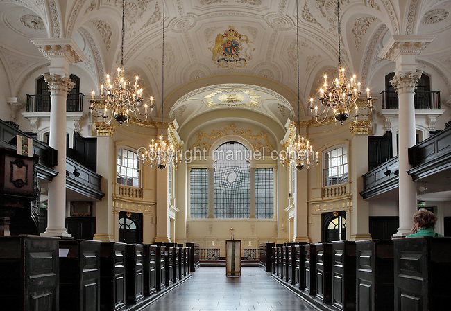 Interior view towards the new east window created by Iranian-born artist Shirazeh Houshiary, 2008, in the Baroque church of St Martin-in-the-Fields, 1726, James Gibbs, Greater London, UK. The new east window appears to depict a cross as if seen reflected in water. Picture by Manuel Cohen