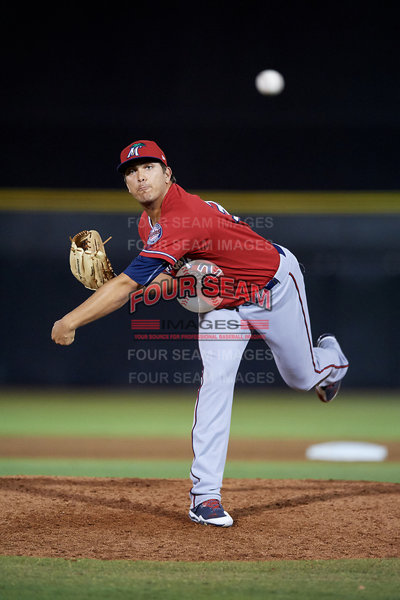 Fort Myers Miracle relief pitcher Andrew Vasquez (32) delivers a pitch during a game against the Dunedin Blue Jays on April 17, 2018 at Dunedin Stadium in Dunedin, Florida.  Dunedin defeated Fort Myers 5-2.  (Mike Janes/Four Seam Images)