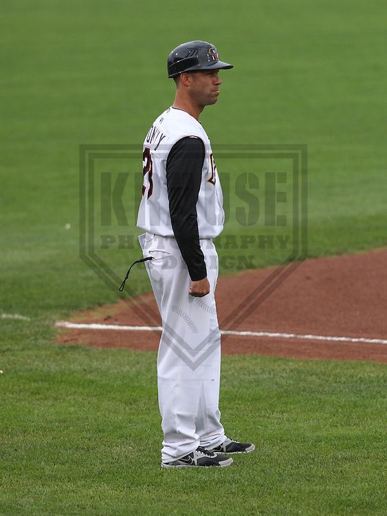 DAVENPORT - May 2015: Quad Cities River Bandits manager Josh Bonifay (28) during a Midwest League game against the Wisconsin Timber Rattlers on May 8th, 2015 at Modern Woodmen Park in Davenport, Iowa.  Quad Cities defeated Wisconsin 11-6.  (Brad Krause/Krause Sports Photography)