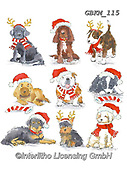 Kate, CHRISTMAS ANIMALS, WEIHNACHTEN TIERE, NAVIDAD ANIMALES, paintings+++++Christmas Dog Breeds,GBKM115,#xa# ,sticker,stickers ,dog,dogs
