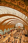 Interior of the Musee d'Orsay that was a former railway station, now filled with 19th and 20th century European art