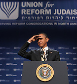 United States President Barack Obama makes remarks at the 71st General Assembly of the Union for Reform Judaism at the Gaylord Hotel, National Harbor, Maryland, Friday, December 16, 2011.  In his remarks, the President affirmed his unshakable support for the State of Israel. .Credit: Olivier Douliery / Pool via CNP