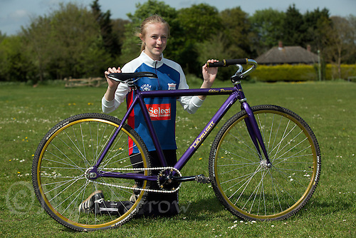 10 MAY 2015 - GREAT BLAKENHAM, GBR - When asked what colour she wanted her bike painted Ipswich Eagles Cycle Speedway Club's Chloe Pearce chose the purple as used by the Cadbury chocolate company and the same typeface as they use for their logo for her name   (PHOTO COPYRIGHT © 2015 NIGEL FARROW, ALL RIGHTS RESERVED)