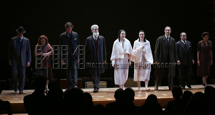 Matt Darriau, Lisa Gutkin, Aaron Halva, Tom Nelis, Adina Verson, Katrina Lenk, Richard Topal, Steven Rattazzi,and Mimi Lieber during the Broadway Opening Night Performance Curtain Call Bows for  'Indecent' at The Cort Theatre on April 18, 2017 in New York City.