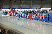 SCHAATSEN: ERFURT: Gunda Niemann Stirnemann Eishalle, 21-03-2015, ISU World Cup Final 2014/2015, Opening Ceremony, ©foto Martin de Jong